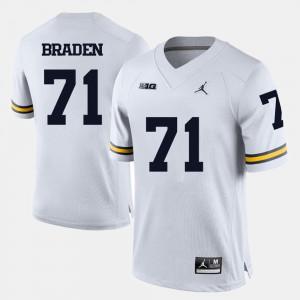 University of Michigan #71 For Men Ben Braden Jersey White High School College Football 910037-926
