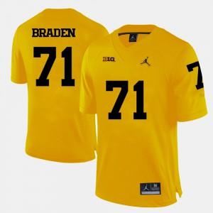 University of Michigan #71 Men Ben Braden Jersey Yellow Official College Football 767803-943