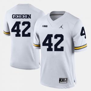 Michigan #42 For Men Ben Gedeon Jersey White Stitch College Football 262755-714