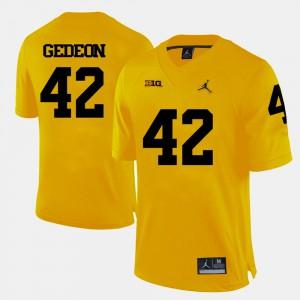 University of Michigan #42 Mens Ben Gedeon Jersey Yellow Alumni College Football 330032-885