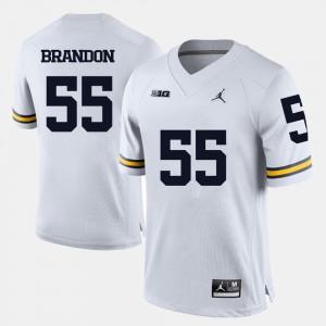 U of M #55 Men Brandon Graham Jersey White Stitch College Football 253608-650