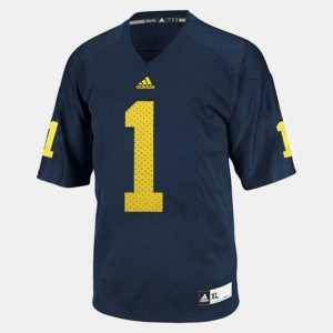 Michigan #1 For Men Braylon Edwards Jersey Blue College Football Embroidery 479325-681