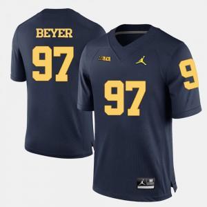 Michigan #97 Men's Brennen Beyer Jersey Navy Blue NCAA College Football 838082-593