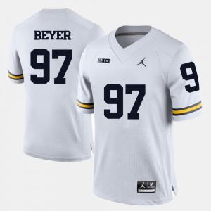 Michigan #97 For Men Brennen Beyer Jersey White Stitch College Football 700439-620