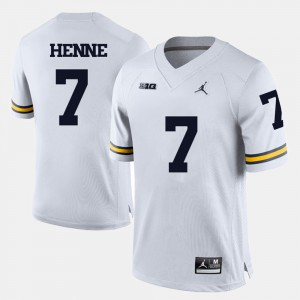 Michigan #7 Men Chad Henne Jersey White College Football Alumni 713030-722