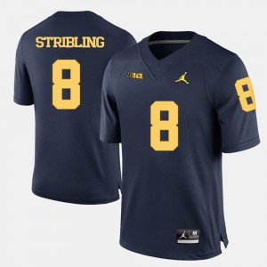 Wolverines #8 For Men Channing Stribling Jersey Navy Blue Embroidery College Football 376585-542