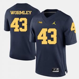 University of Michigan #43 Men's Chris Wormley Jersey Navy Blue Alumni College Football 773945-415
