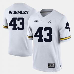 U of M #43 Men's Chris Wormley Jersey White NCAA College Football 710652-646