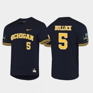 Michigan #5 Mens Christan Bullock Jersey Navy NCAA 2019 NCAA Baseball College World Series 800619-967