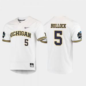 Michigan #5 For Men Christan Bullock Jersey White Player 2019 NCAA Baseball College World Series 576444-677