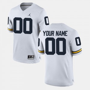 University of Michigan #00 Men's Customized Jerseys White Official College Limited Football 164954-875