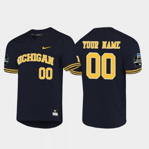 Michigan Wolverines #00 Men's Custom Jersey Navy Alumni 2019 NCAA Baseball College World Series 961098-940