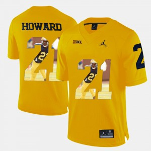Michigan #21 Mens Desmond Howard Jersey Yellow Player Pictorial College 747531-735