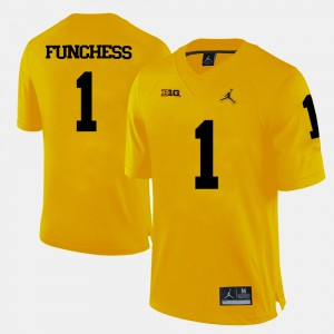 Michigan #1 For Men Devin Funchess Jersey Yellow College Football University 864239-223