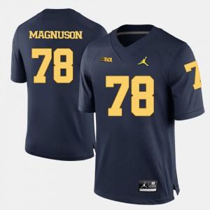 U of M #78 Men Erik Magnuson Jersey Navy Blue College Football NCAA 852610-624