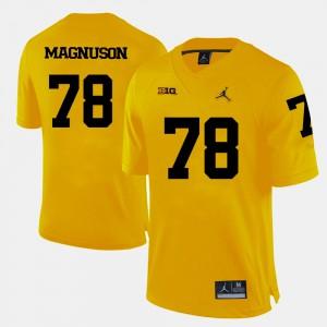 Michigan Wolverines #78 For Men Erik Magnuson Jersey Yellow College Football NCAA 320917-188