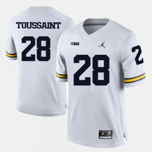Michigan #28 For Men's Fitzgerald Toussaint Jersey White Stitched College Football 372430-180