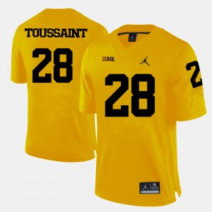 Michigan Wolverines #28 Mens Fitzgerald Toussaint Jersey Yellow College Football Embroidery 856456-924