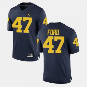 Michigan #47 Men's Gerald Ford Jersey Navy Alumni Football Game Embroidery 652737-547