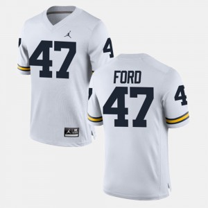 University of Michigan #47 For Men's Gerald Ford Jersey White Alumni Football Game College 331824-565