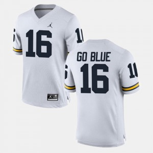 University of Michigan #16 For Men GO BLUE Jersey White NCAA Alumni Football Game 846003-905