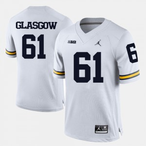 U of M #61 For Men Graham Glasgow Jersey White Player College Football 617363-754