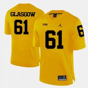 University of Michigan #61 For Men Graham Glasgow Jersey Yellow College Football Stitch 625850-381