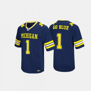 University of Michigan #1 Men's Jersey Navy Hail Mary II Embroidery 770345-681