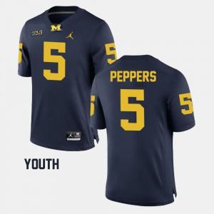 Michigan #5 Kids Jabrill Peppers Jersey Navy Stitched Alumni Football Game 843064-674