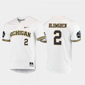 Michigan #2 Men Jack Blomgren Jersey White Stitched 2019 NCAA Baseball College World Series 869186-364