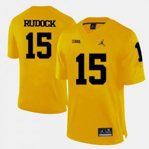 University of Michigan #15 For Men's Jake Rudock Jersey Yellow College Football High School 639649-590