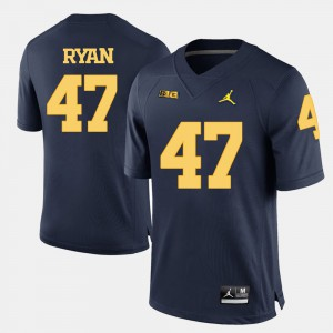 Wolverines #47 Men Jake Ryan Jersey Navy Blue College Football Official 484196-839
