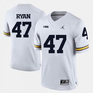 University of Michigan #47 Men Jake Ryan Jersey White College Football Stitched 455993-133