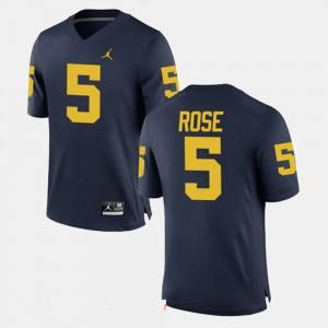 Michigan #5 Men's Jalen Rose Jersey Navy Stitched Alumni Football Game 490889-622