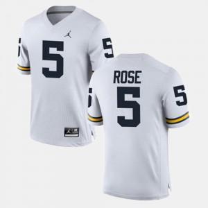 University of Michigan #5 For Men's Jalen Rose Jersey White Alumni Alumni Football Game 507723-956