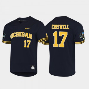 U of M #17 Men's Jeff Criswell Jersey Navy 2019 NCAA Baseball College World Series University 340436-292