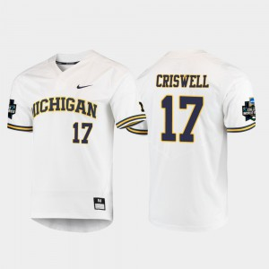 Michigan Wolverines #17 For Men Jeff Criswell Jersey White 2019 NCAA Baseball College World Series University 486793-777