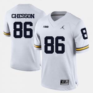 Michigan #86 Men Jehu Chesson Jersey White College Football Alumni 595289-836