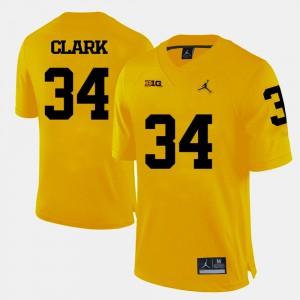 Michigan #34 Men's Jeremy Clark Jersey Yellow High School College Football 889402-854