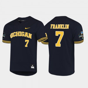 Michigan #7 Men Jesse Franklin Jersey Navy 2019 NCAA Baseball College World Series Stitch 185479-660