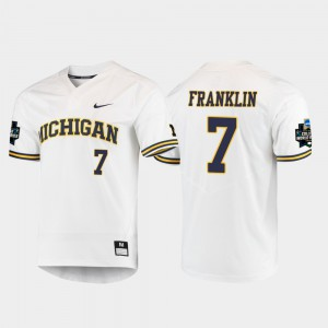 Wolverines #7 Men Jesse Franklin Jersey White 2019 NCAA Baseball College World Series High School 902015-980