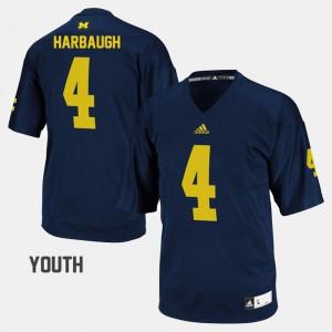 Michigan #4 For Kids Jim Harbaugh Jersey Navy College Football Stitch 843217-716