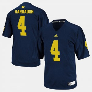 U of M #4 Men Jim Harbaugh Jersey Navy Embroidery College Football 976887-194