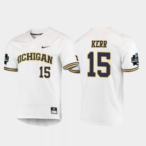 Michigan Wolverines #15 Men's Jimmy Kerr Jersey White College 2019 NCAA Baseball College World Series 119445-455