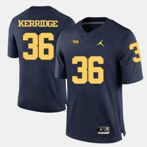 U of M #36 Men's Joe Kerridge Jersey Navy Blue Stitched College Football 763272-561