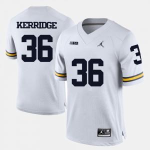 U of M #36 For Men Joe Kerridge Jersey White College Football Embroidery 283117-605