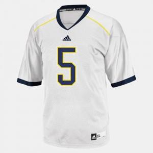 University of Michigan #5 For Kids John Wangler Jersey White College Football Stitch 816811-304