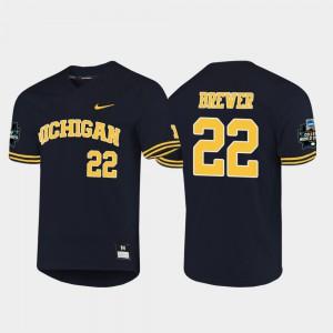 Wolverines #22 Mens Jordan Brewer Jersey Navy Stitched 2019 NCAA Baseball College World Series 331686-157