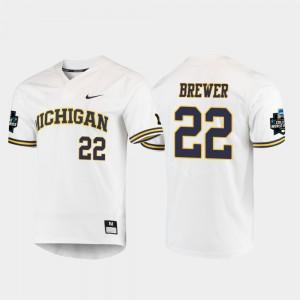 Michigan #22 For Men Jordan Brewer Jersey White NCAA 2019 NCAA Baseball College World Series 287924-150