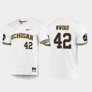 Wolverines #42 Mens Jordan Nwogu Jersey White Player 2019 NCAA Baseball College World Series 565169-282